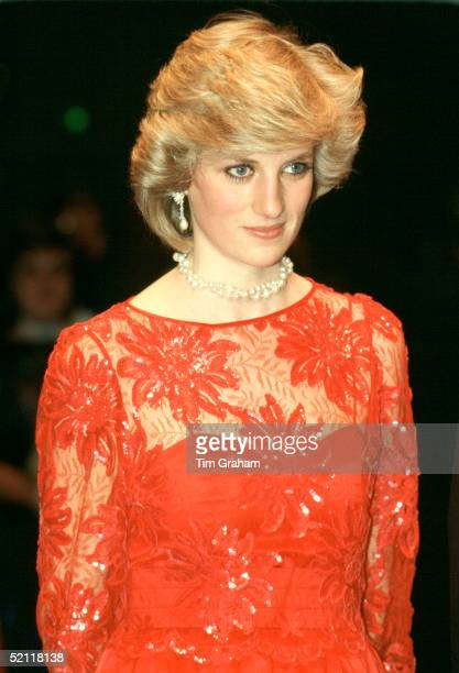 Princess Diana On A Visit To The Ballet In Oslo Wearing A Red Silk Taffeta Evening Dress Designed By Fashion Designer Jan Van Velden
