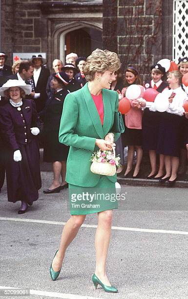 Princess Diana On A Walkabout After Visiting Babington Hospital In Derbyshire The Princess Is Wearing A Green Suit And She Is Carrying A Basket Of...