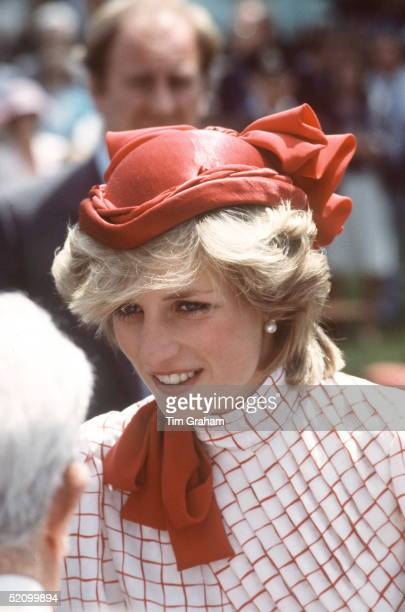 Princess Diana On A Walkabout At Garrison Grounds In Halifaxnova Scotia While On A Royal Tour Of Canada Wearing A Red Hat By Fashion Designers...