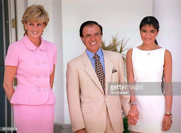 Princess Diana On Her Official Visit To Argentina With President Menem And His Daughter Zulemita