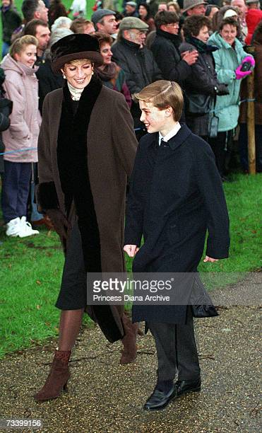 Princess Diana on her way to Sandringham Church with Prince William for a Christmas Day service, 25th December 1994.