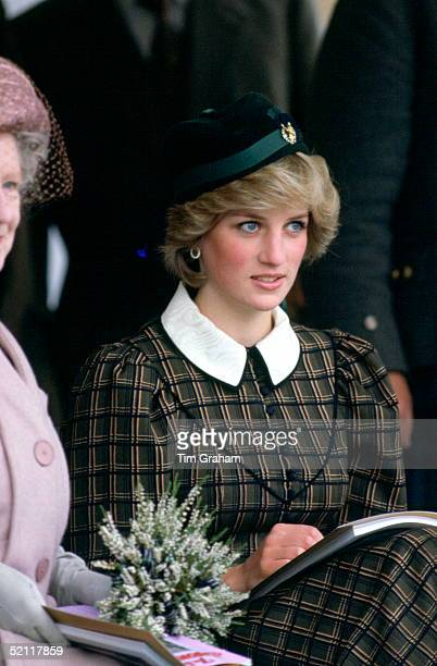 Princess Diana On Holiday In Scotland Attending The Braemar Games Highland Gathering And Wearing A Tartan Dress And Tam O'shanter Style Hat For The...