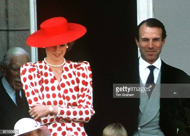 Princess Diana On The Balcony Of Buckingham Palace With Captain Mark Phillips For Trooping The Colour The Queen's Official Birthday Celebration