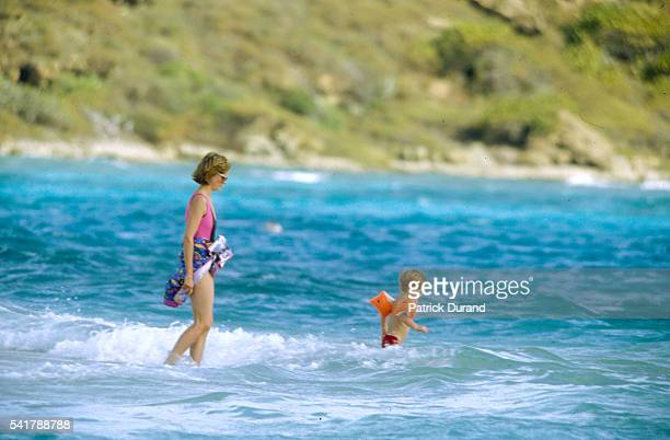 Princess Diana on Vacation with Her Sons