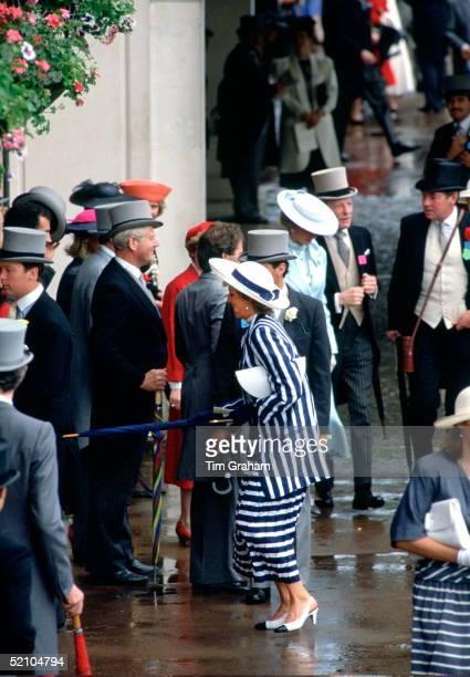 Princess Diana Poking Her Umbrella At A Friend At Royal Ascot, Berkshire.