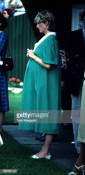Princess Diana pregnant with Prince William at Windsor Polo with Sarah Ferguson. June 1982
