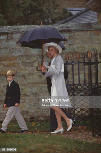 Princess Diana Prince Charles and Prince William attend Viscount and Viscountess Althorp wedding at St Mary The Virgin church in Great Brington UK...