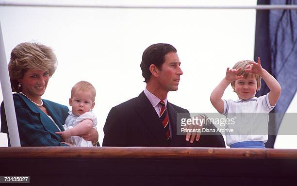 Princess Diana Prince Charles and their sons Prince Harry and William leaving Italy on board the royal yacht Brittania after a tour April 1985 The...
