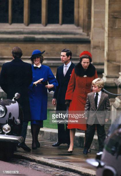 Princess Diana, Prince Charles, Princess Anne and her son Peter Phillips attend the Royal Christmas Service at St George's Chapel on December 25,...