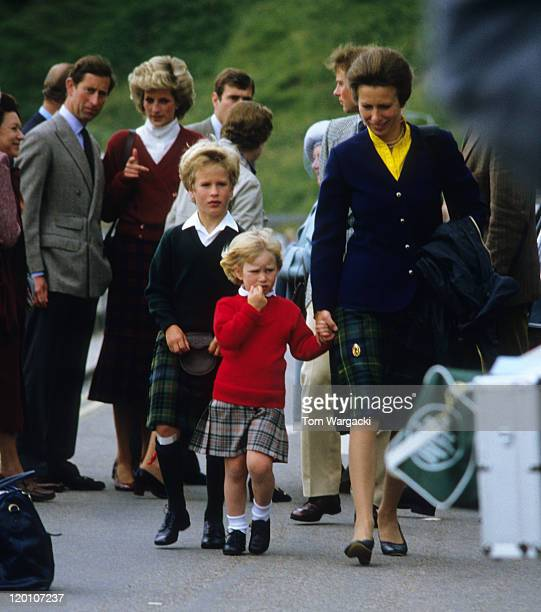 Princess Diana Prince CharlesPrincess Anne Prince Andrew Prince EdwardZara Phillips Peter Phillips and the Queen Mother sighting on August 9 1985 in...