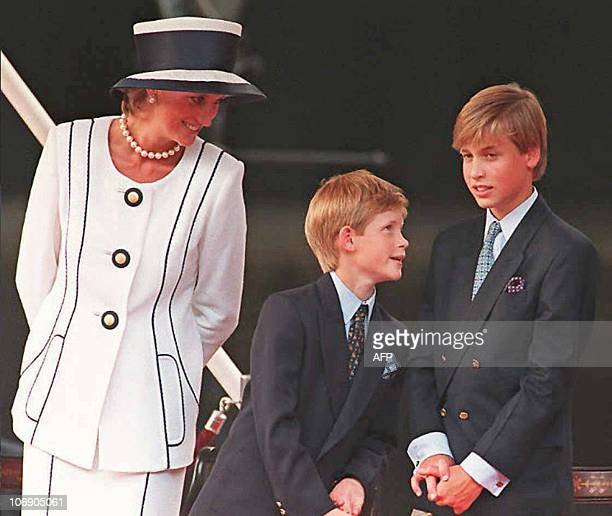 Princess Diana Prince Harry and Prince William gather for the commemorations of VJ Day 19 August 1995 in London Prince William turned 25 Thursday 21...