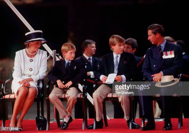 Princess Diana Prince Harry Prince William And Prince Charles Watching The Parade Of Veterans On Vj Day The Mall London