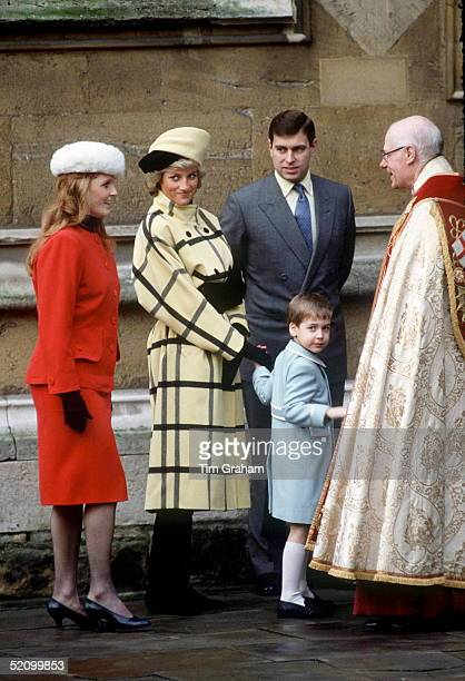 Princess Diana, Prince William, Prince Andrew And The Duchess Of York In Windsor For Christmas.