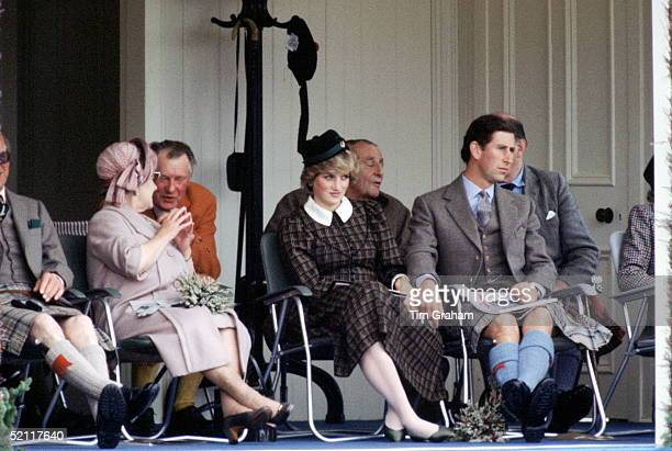 Princess Diana Princes Charles And The Queen Mother Watching The Traditional Highland Games At Braemar