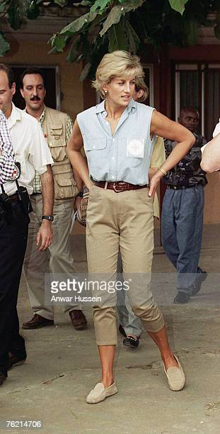 Princess Diana Princes of Wales visits Angola in January 1997 to promote the campaign against the use of landmines