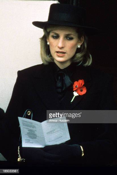 Princess Diana Princess of Wales and her sisterinlaw Princess Anne attend the Remembrance Ceremony at the Cenotaph in London on November 01 1984