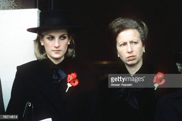 Princess Diana, Princess of Wales, and her sister-in-law Princess Anne, attend the Remembrance Ceremony at the Cenotaph in London in November, 1984.