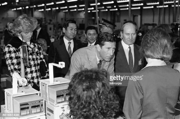 Princess Diana Princess of Wales and Prince Charles Prince of Wales visit Tabuchi at Teesside Industrial Estate 18th March 1987