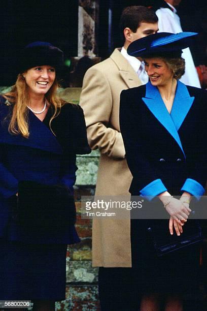 Princess Diana, Princess of Wales and Sarah Ferguson, Duchess of York attend the Christmas service at Sandringham.