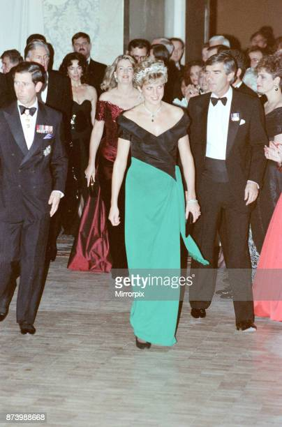 Princess Diana Princess of Wales and The Prince of Wales Prince Charles attend a gala dinner at the Royal York Hotel in Toronto during her official...