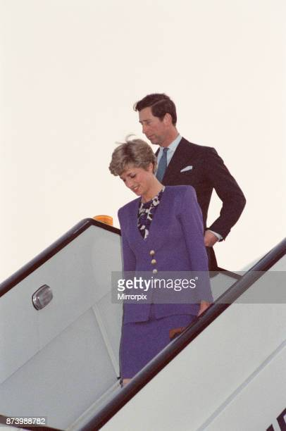Princess Diana Princess of Wales and The Prince of Wales Prince Charles fly into London Heathrow Airport today on British Airways It is not known...