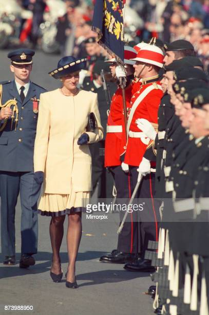 Princess Diana Princess of Wales and The Prince of Wales Prince Charles on their tour of Canada October 1991 Picture shows the couple in Kingston...