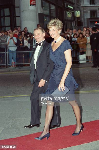 Princess Diana Princess of Wales arrives at The Aldwych Theatre in London to attend a charity performance of Tango Argentino in aid of The National...