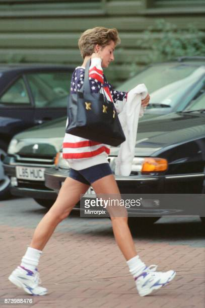 Princess Diana Princess of Wales arrives at The Chelsea Harbour Gym Club in West London Picture taken 16th October 1994