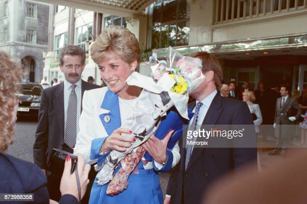 Princess Diana Princess of Wales arrives at The Savoy Hotel in London on her 30th birthday Wellwishers are outside to give her flowers and presents...