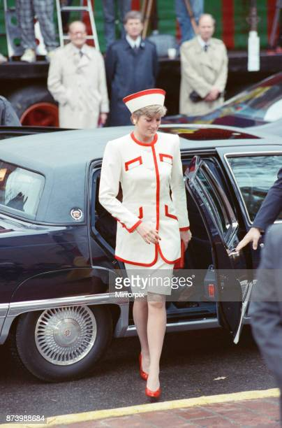 Princess Diana Princess of Wales arrives for a church service at St James Cathedral in Toronto Canada With her though out of shot are her two sons...