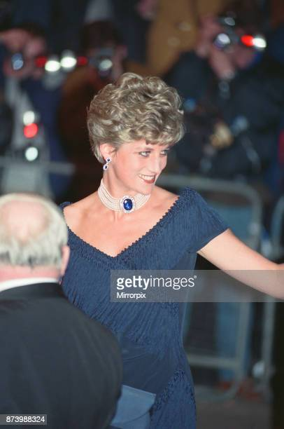 Princess Diana Princess of Wales arrives for the premiere of The Prince of Tides at Odeon Leicester Square London in a stunning sapphire blue dress...