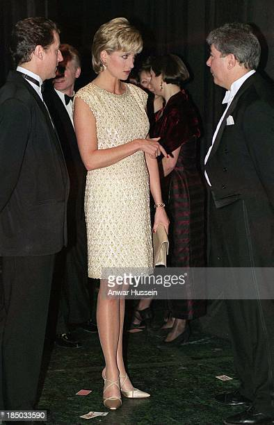 Princess Diana Princess of Wales as patron of the English national ballet attends a performance Of Alice in wonderland at the coliseum in March 1996...