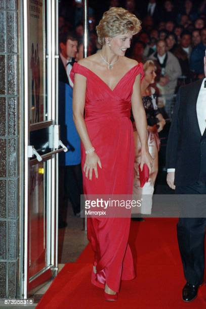Princess Diana Princess of Wales at Odeon Cinema in London to attend the premiere of Julie Walter's new film 'Just Like a Woman' Diana wore a red...