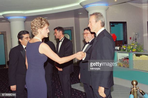 Princess Diana, Princess of Wales, at the new Warner West End Cinema in Leicester Square London, for the premiere of The Fugitive. Pictured here...