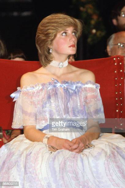 Princess Diana Princess of Wales at the VA Museum attending the 'Splendours of the Gonzagas' exhibition wearing a dress designed by fashion designers...