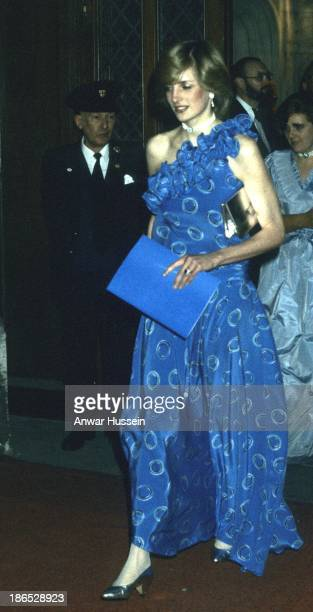 Princess Diana Princess of Wales attends a banquet at the Guildhall on November 30 1982 in London England Comments were made on how thin she looked...