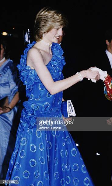 Princess Diana Princess of Wales attends a banquet at the Guildhall in London in November 1982 Comments were made on how thin she looked and this led...