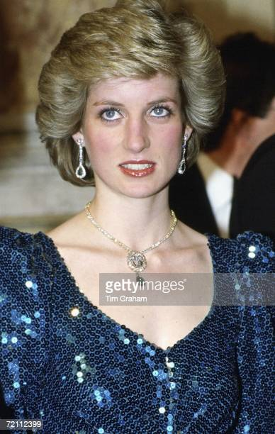 Princess Diana princess of Wales attends a gala at the Vienna Burgh Theatre during a visit to Austria on April 14 1986 in Vienna Austria