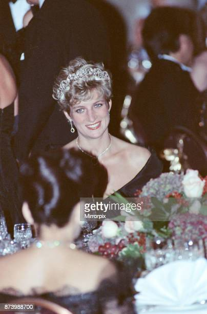 Princess Diana Princess of Wales attends a gala dinner at the Royal York Hotel in Toronto during her official visit to Canada Picture taken 27th...