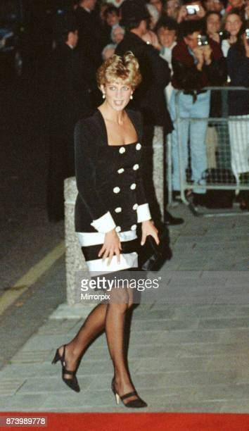 Princess Diana Princess of Wales attends a performance of 'Carmen' by the British Youth Opera at Sadlers Wells theatre in London Diana is wearing a...