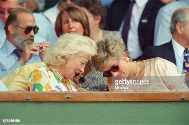 Princess Diana Princess of Wales attends the 1993 Men's Singles Wimbledon Tennis Final She wears or attends to her sunglasses for most of the...