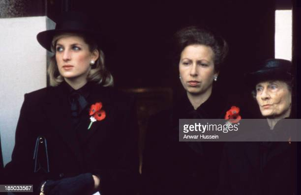 Princess Diana Princess of Wales her sisterinlaw Princess Anne and Princess Alice Duchess of Gloucester attend the Remembrance Ceremony at the...