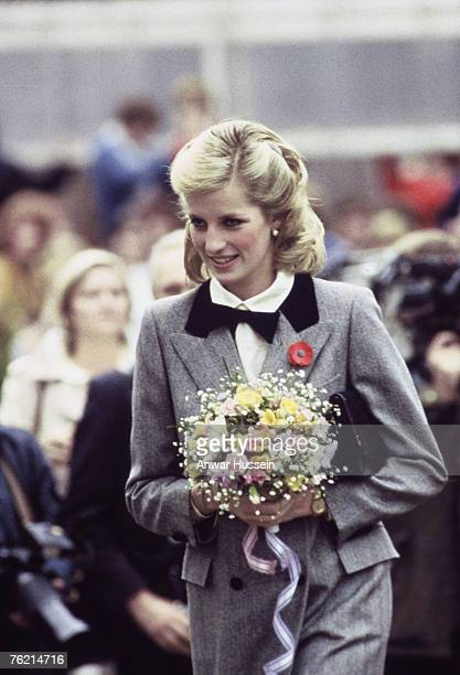 Princess Diana Princess of Wales in a new hairstyle and wearing an outfit described as 'A Teddy Boy Look' visits Dr Barnado's Charity in London in...