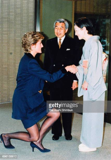 Princess Diana Princess of Wales is welcomed by Emperor Akihito and Empress Michiko prior to their meeting at the Imperial Palace on February 8 1995...