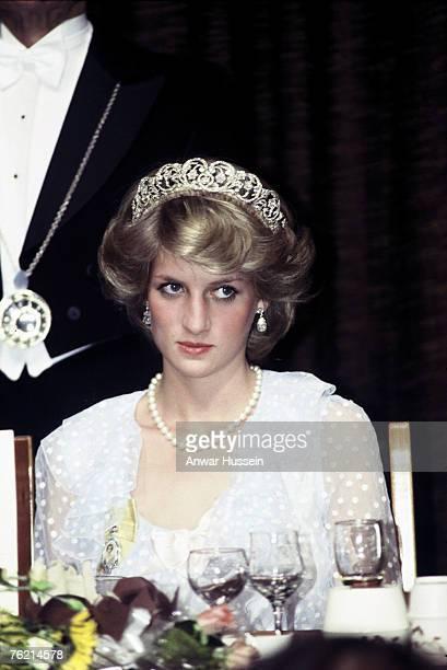 Princess Diana Princess of Wales looks pensive while wearing tiara in New Zealand during April 1983