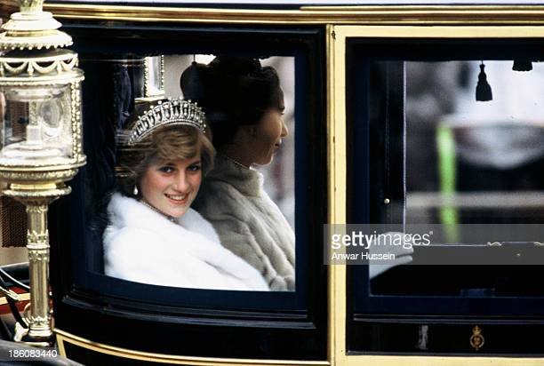 Princess Diana Princess of Wales on her way to the State Opening of Parliament with Princess Anne on November 04 1981 in London England She is...