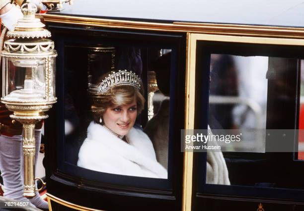 Princess Diana, Princess of Wales, on her way to the State Opening of Parliament in November 1981 in London, England. She is travelling in the Glass...