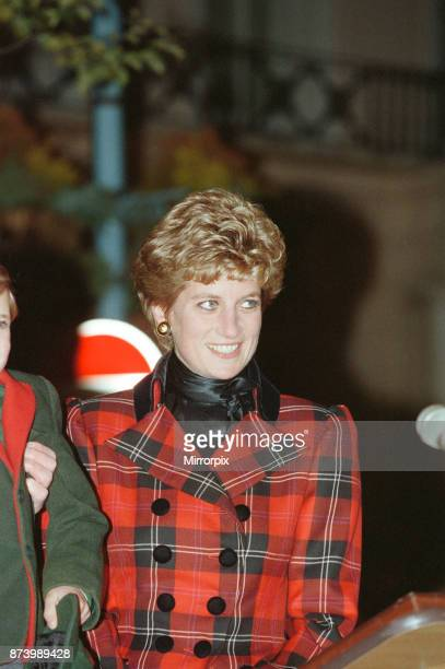 Princess Diana Princess of Wales on the evening she switches on the Christmas lights in Bond Street Central London Picture taken 17th November 1993