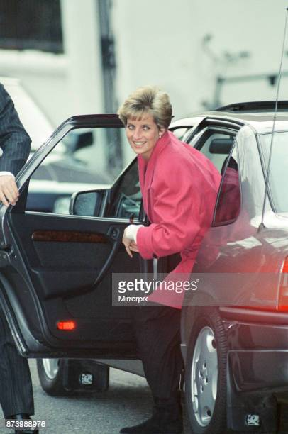 Princess Diana Princess of Wales pictured 11th December 1990 as she goes to see her son Prince Harry sing in the school choir The Princess was misty...