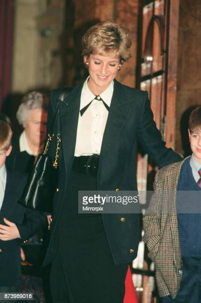 Princess Diana, Princess of Wales, pictured at The Palladium Theatre, London, where she has gone to see the play 'Oliver' Picture taken 15th December...